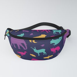Colorful Wild Animal Silhouette Pattern Fanny Pack