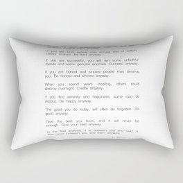 Do It Anyway by Mother Teresa 2 #minimalism #inspirational Rectangular Pillow