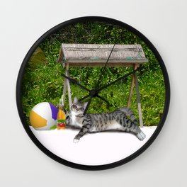 Vacation Time - Beach Bum Kitty Wall Clock
