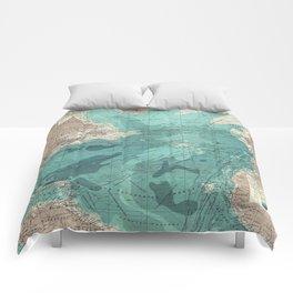Vintage Green Transatlantic Mapping Comforters