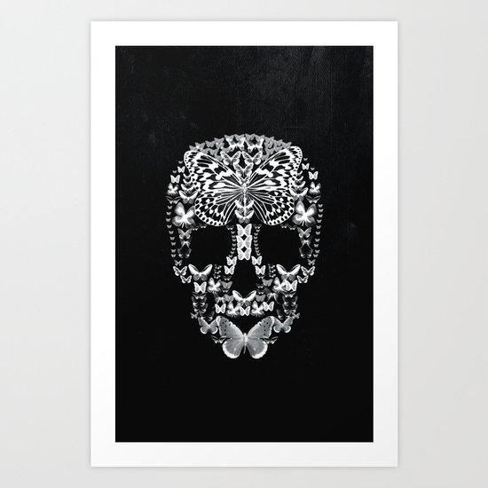 Cranium Butterflies B&W Option Art Print