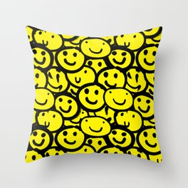 Smiley Face Yellow Throw Pillow