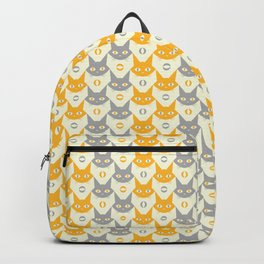 Mid-century Modern Abstract Cat Pattern, Vintage Cats in Illuminating Bright Yellow and Ultimate Grey Trendy Colors of the Year 2021 Backpack
