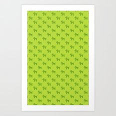 Dogs-Green Art Print