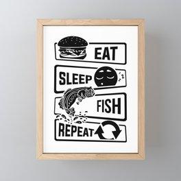 Eat Sleep Fish Repeat - Fishing Fisherman Framed Mini Art Print