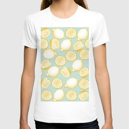 Lemons On Turquoise Background T-shirt