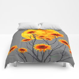 Red Gold Color Fantasy Sunflowers  Flowers Moon  Art Comforters