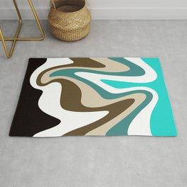Liquid Mountain Abstract // Teal, Turquoise, Raw Umber, Khaki Tan, Black and White Rug