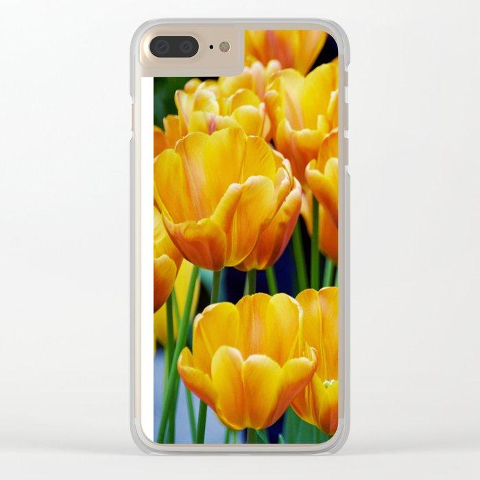 Yellow Orange Tulips Clear iPhone Case