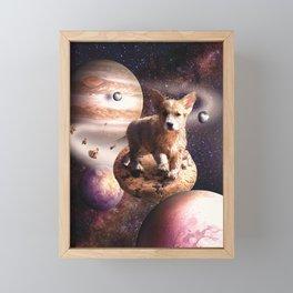 Space Corgi Dog On Cookie Framed Mini Art Print