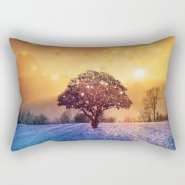 Miracle Tree in Frozen Tundra, Home Decor, Scenic Wall Art, Winter Rectangular Pillow