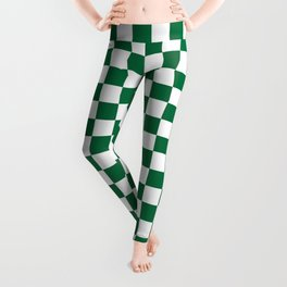 White and Cadmium Green Checkerboard Leggings