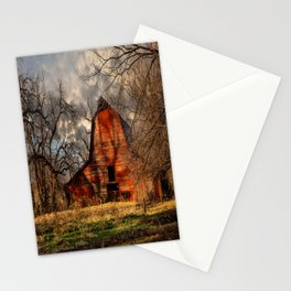 Red Barn - Rustic Barn in Shadows on Fall Day in Oklahoma Stationery Cards