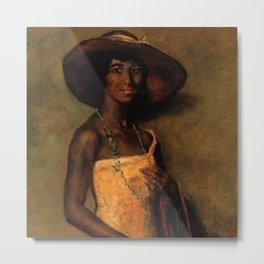 African American Portrait 'Woman in a yellow dress' by Simon Maris Metal Print