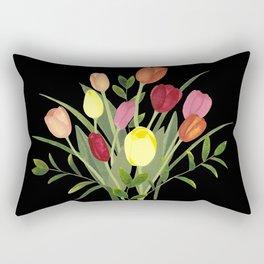 Tulips - black Rectangular Pillow