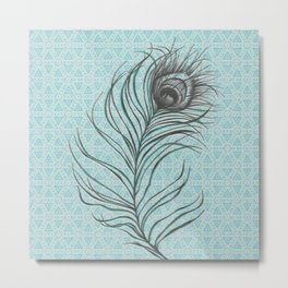 Turquoise Feather. Metal Print