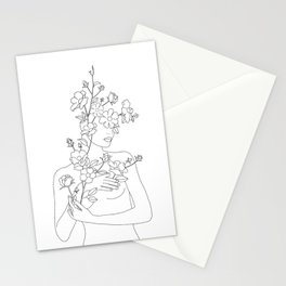 Minimal Line Art Woman with Wild Roses Stationery Cards