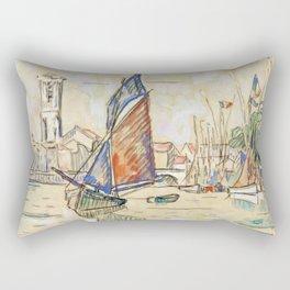 """Paul Signac """"Bateaux au port"""" Rectangular Pillow"""