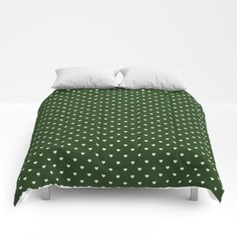 Small White Polka Dot Hearts on Dark Forest Green Comforters
