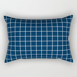 Oxford blue - blue color - White Lines Grid Pattern Rectangular Pillow