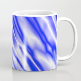Light metal crooked mirror with blue white diagonal stripes. Coffee Mug