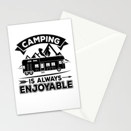 Camping Is Always Enjoyable bw Stationery Cards
