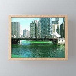 Chicago River on St. Patrick's Day #Chicago Framed Mini Art Print