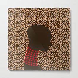 Bald head woman with pink beads zollione shop animal print Metal Print
