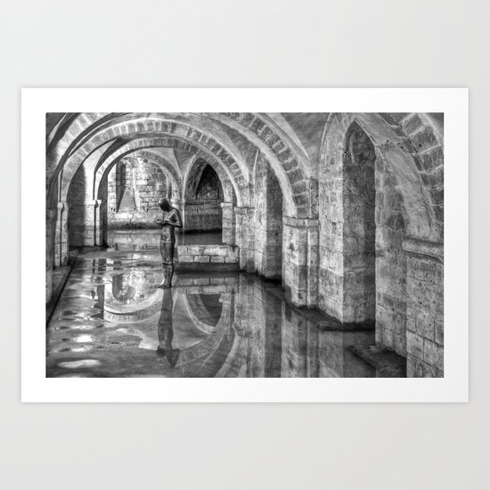 Winchester Cathedral Crypt - Black and White Art Print