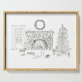 Cozy Christmas Ink Drawing Scene With Cavalier King Charles Serving Tray