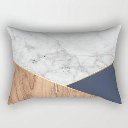 White Marble - Wood & Navy #599 Rectangular Pillow