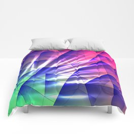 Bright glare of crystals on irregularly shaped blue and violet triangles. Comforters