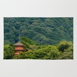 Japanese forest temple Rug
