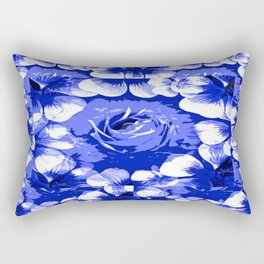 Roses Blue and White Toile #2 Rectangular Pillow