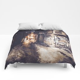Lower East Side - Midnight Warmth on a Snowy Night Comforters