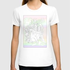 garden & antlers White Womens Fitted Tee MEDIUM