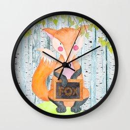 The little Fox - Woodland Friends - Watercolor Illustration Wall Clock
