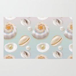 Seashell Seashells Pearls on pastel multicolor backdrop on #Society6 Rug