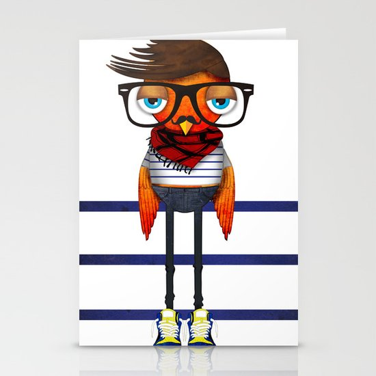 Hipster Bird Stationery Cards