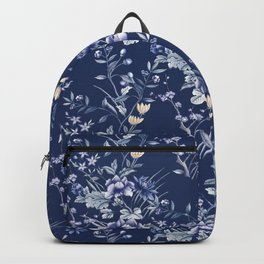 Chinoiserie Flowers Blue on Blue Backpack