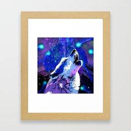 WOLF MOON AND SHOOTING STARS Framed Art Print