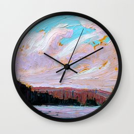 Tom Thomson - Pink Clouds - Canada, Canadian Oil Painting - Group of Seven Wall Clock