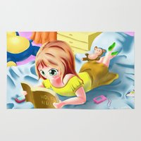 bible Area & Throw Rugs featuring Girl Reading the Bible by Bemmygail
