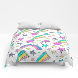Magical  stars and comets. Cute seamless background.  Colorful pattern. Comforters