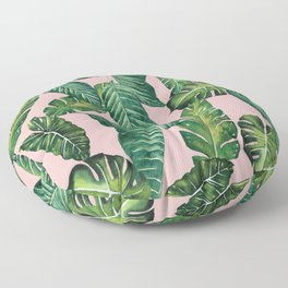 Jungle Leaves, Banana, Monstera II Pink #society6 Floor Pillow