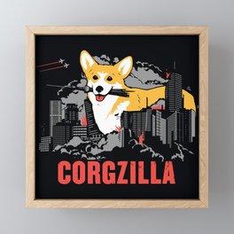 CORGZILLA Framed Mini Art Print