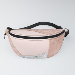 Modern rose gold glitter black white marble geometric color block Fanny Pack