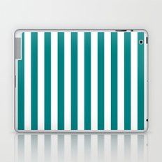 Vertical Stripes (Teal/White) Laptop & iPad Skin