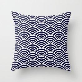 Navy Blue Scallop Pattern Throw Pillow