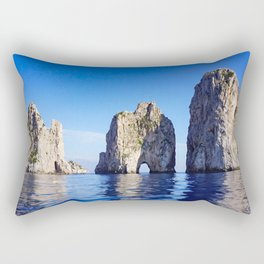 Faraglioni Rocks of the coast of the island of Capri, Italy Rectangular Pillow